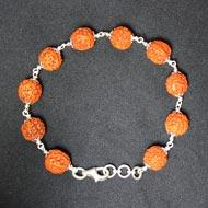 Punch Mukhi Rudraksha Bracelet - Chikna Bead - IX