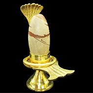 Brass Yoni base with Narmada Shivling - CI