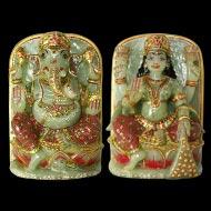 Divine Pair Ganesh Lakshmi in natural   Green Jade