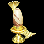 Brass Yoni base with Narmada Shivling - CII