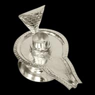 German silver Yoni base for shivling - Design II