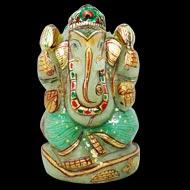 Exotic Ganesh Idol in Green Jade