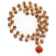 Rare 7 mukhi Mahalaxmi mala in plain silver caps - 8mm