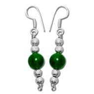Green Jade Round Earrings - 10mm