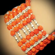 Rudraksha Bracelet with Six Turns in Strong Thread with Silver Beads and Spacers