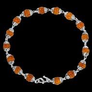 Rudraksha Bracelet in silver with self design caps