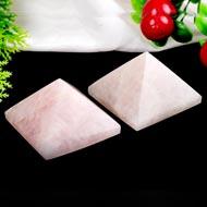 Pyramid in Natural Rose Quartz - Set of 2 - 140 gms