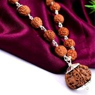 5 mukhi Guru mala in silver with knots