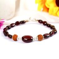 Rudraksha and Gomed Bracelet - 60 carats
