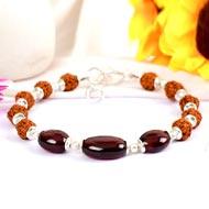Rudraksha and Gomed Bracelet - 25 carats