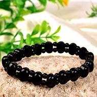 Black Jade Bracelet - Oval Faceted Beads