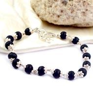 Black Tulsi Beads Bracelet in flower silver caps - I