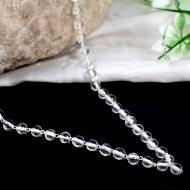 Sphatik mala in silver with knots - 5mm