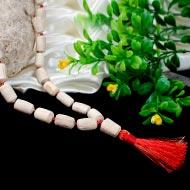 White Tulsi Mala - Drum Shape Beads - II