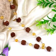 4 mukhi Java Mala with faceted Citrine beads in silver caps