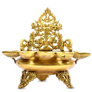 Panchmukhi Diyas Urli in brass