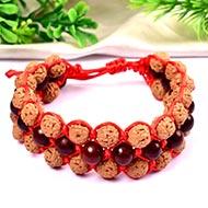 Semi Chikna Rudraksha and Red sandal beads bracelet - I
