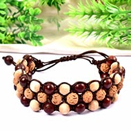Semi Chikna Rudraksha with Red sandal beads and White tulsi beads bracelet
