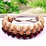 Semi Chikna Rudraksha with Red sandal beads and White tulsi beads bracelet - I