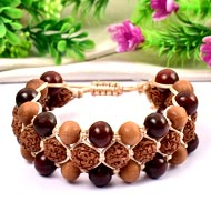 Semi Chikna Rudraksha with Red sandal beads  bracelet - III