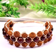 Rudraksha and Red sandal beads bracelet - III