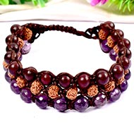 Semi Chikna Rudraksha with Red sandal beads and Amethyst beads bracelet