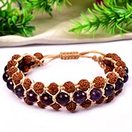 Semi Chikna Rudraksha with Sandal beads and Amethyst Faceted beads bracelet