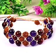 Rudraksha with Red Sandal beads and Amethyst Faceted beads bracelet - I