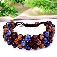 Semi Chikna Rudraksha with Red Sandal beads and Lapis Lazuli beads bracelet