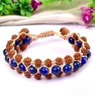 Semi Chikna Rudraksha with  Sandal beads and Lapis Lazuli beads bracelet