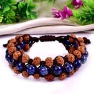 Semi Chikna Rudraksha with  Red Sandal beads and Lapis Lazuli beads bracelet - I