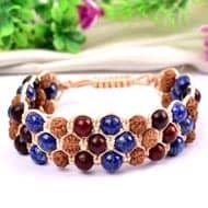 Semi Chikna Rudraksha with  Red Sandal beads and Lapis Lazuli beads bracelet - II