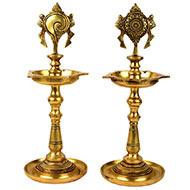Shankhu Naman Brass Samai Diya - Set of 2