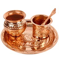 Puja Thali - Designer Copper