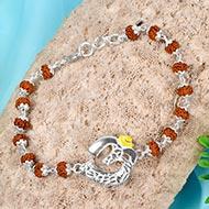 Om  Bracelet in pure silver with Rudraksha beads