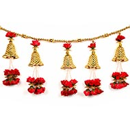 Golden Toran with Red Roses and Bells