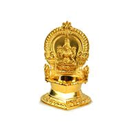 Mahalaxmi with elephant diya in brass