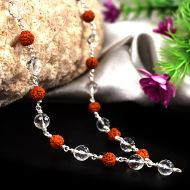 Rudraksha and Sphatik mala in silver with knots