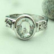 White Topaz Ring in pure silver