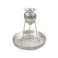 Abhishekam tray with tripod stand - German Silver