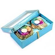 Auspicious Agate Gemstone Diya with wax candle (Set Of 2)