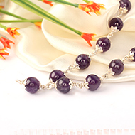 Amethyst beads mala in Pure silver flower caps - 8 mm