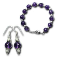 Amethyst Bracelet and Earring set - 10mm