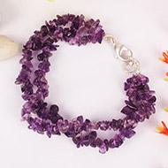 Amethyst Double turn Bracelet - Uncut beads