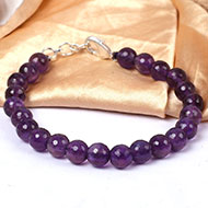 Amethyst faceted bead Bracelet - 8mm