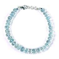 Aquamarine button shape bracelet - Faceted beads