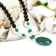 Black Agate and Green Onyx with Crystal beads Mala