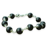 Black Ebony Bracelet in silver flower caps