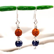 Round Blue Sapphire Earings With Rudraksha
