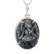 Blue Sapphire Mahakali in silver pendant - III
